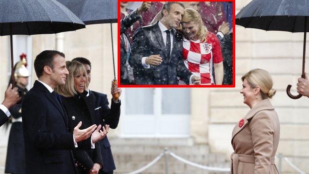 Кога се заедно Твитер гори: Колинда и Макрон повторно се сретнаа на дожд, а од нејзините високи потпетици ќе се смеете со солзи (ФОТО)