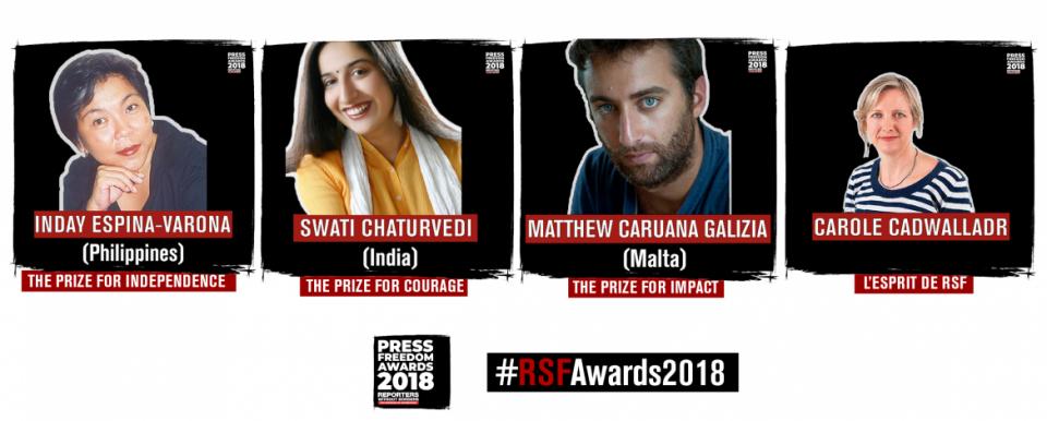 """Организацијата """"Репортери без граници"""" награди четворица новинари"""
