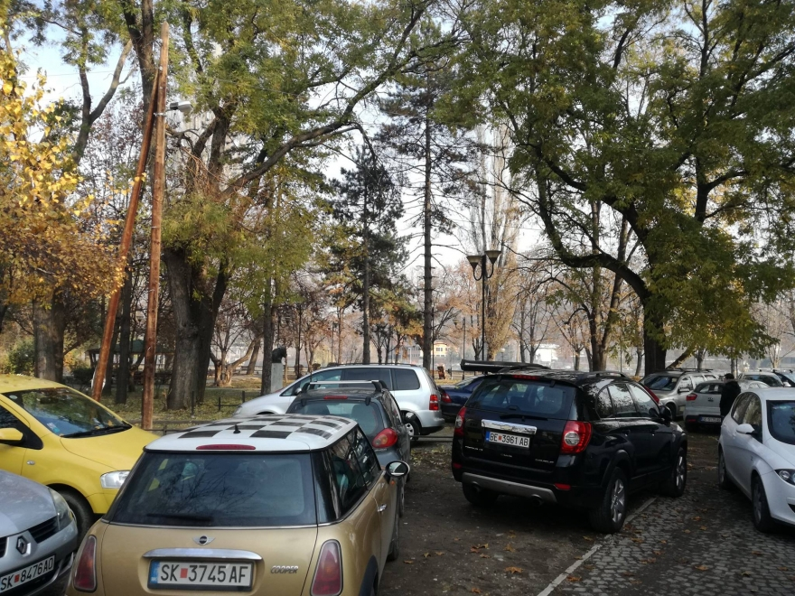 Во еден од најубавите паркови на Скопје, наместо дрвја растат коли (ФОТО)