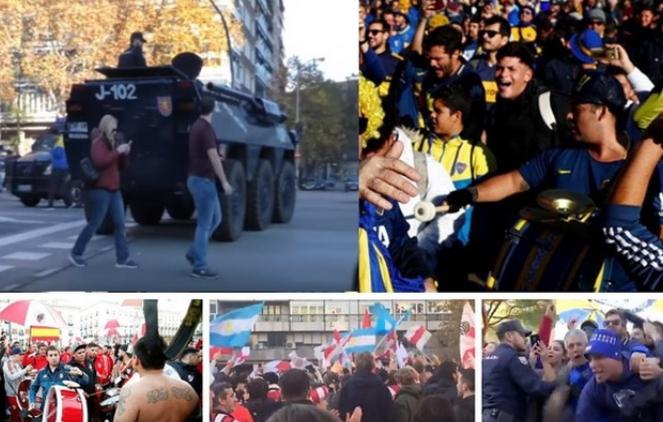 """Навивачите на Ривер и Бока го """"запалија"""" Мадрид: Оклопни возила, силни безбедносни мерки (ВИДЕО)"""