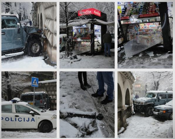 """Еве кој дивел со """"Хамер"""" во центарот на Белград и удирал во се што ќе стигне (ФОТО)"""