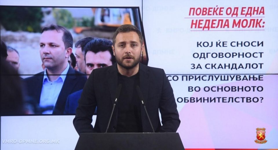 Арсовски: 8-ми ден Заев и Спасовски молчат за скандалот со прислушувањето, кој ќе сноси одговорност?