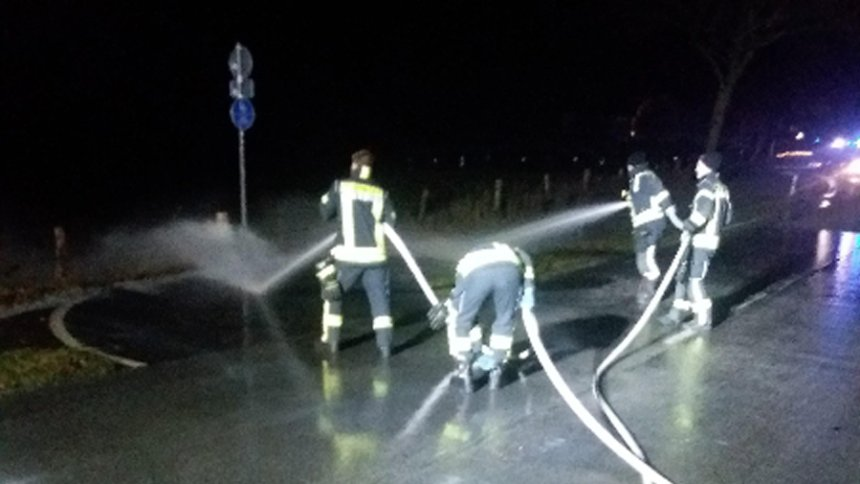 Млечно лизгалиште во Германија: Во Рутен на улица смрзнаа 15.000 литри млеко (ФОТО)