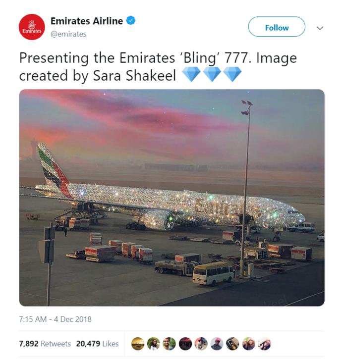 """ФОТО: Интернетот полуде по """"дијамантскиот авион"""" на """"Emirates"""""""