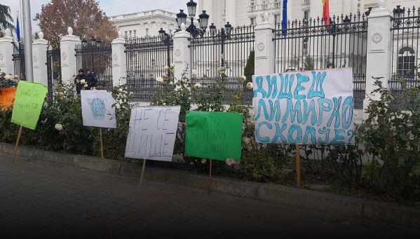 Скопските и гостиварските гимназијалци протестираат пред владата против загадувањето на воздухот
