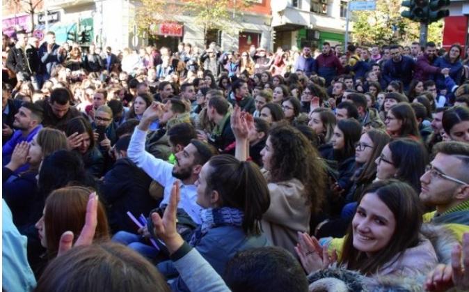 Протест на студентите пред Ректоратот на Универзитетот во Приштина