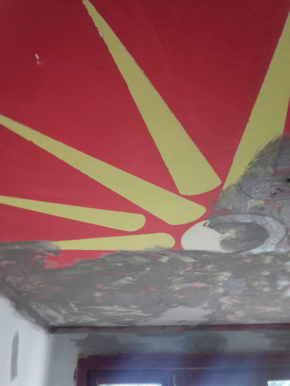СДСМ брише се што е македонско: Дарио Николовски наредил бојадисување на два цртежа од студентскиот дом Кузман (ФОТО)