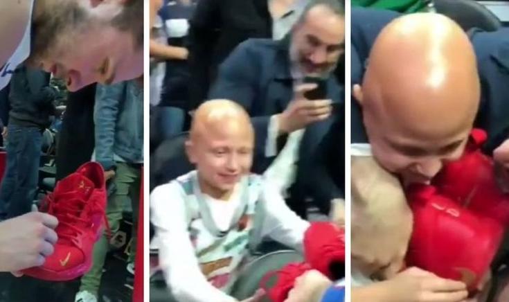 Кошаркар со огромно срце: Лука израдува детенце (ВИДЕО)