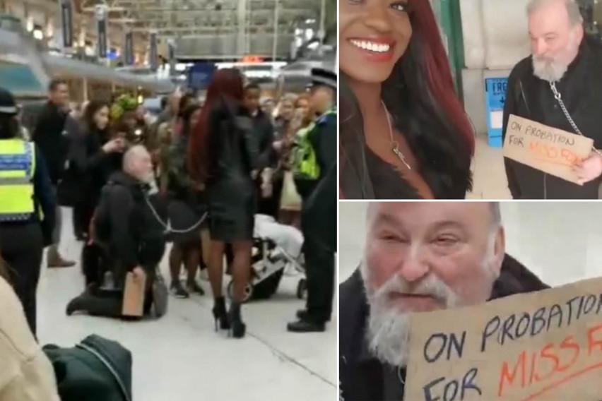 Немате видено нешто побизарно: Жена со ланец шетала маж, а сите биле изненадени од натписот кој го носел (ВИДЕО)