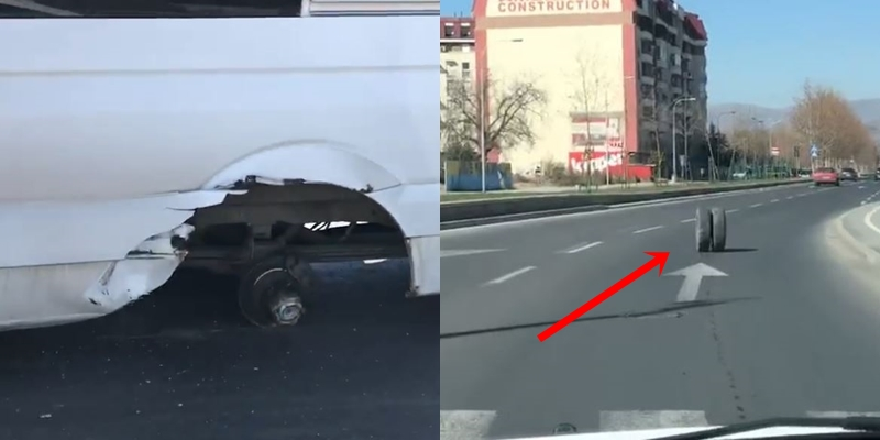 ВОЗАЧИТЕ ВО ПАНИКА: На комбе со патници му излета тркалото среде Скопје- гумата продолжи да се движи кон пешачки премин (ВИДЕО)