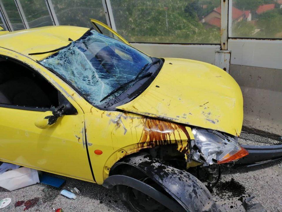 ФОТО: Тешка сообраќајка на скопската обиколница – повредени жена и две деца