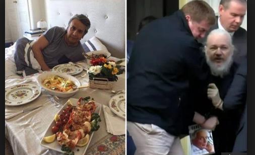 Поради оваа фотографија е укинат азилот на Џулијан Асанж: Претседателот на Еквадор, хотелски кревет и јастог