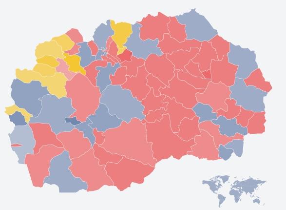 Со постигнатите резултати ВМРО-ДПМНЕ би освоила 53 пратенички мандати, а СДСМ 41