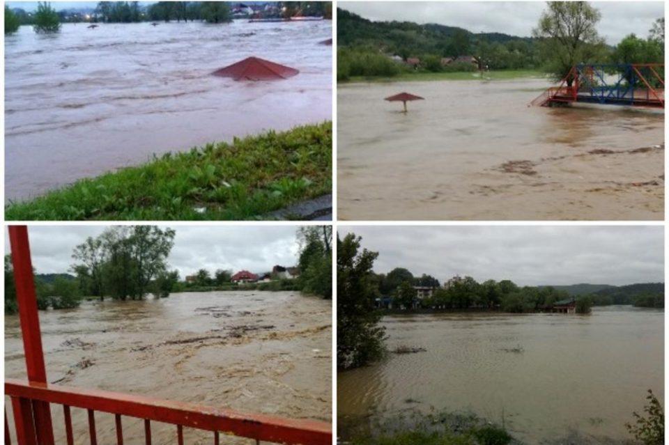 Вонредна ситуација во БИХ: Пет реки излеани од коритото, за само два часа нивото на водата порасна за 126 сантиметри