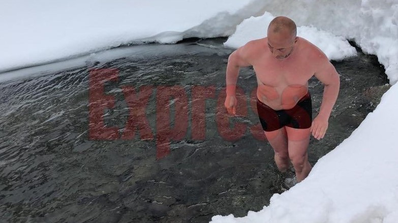 Харадинај по стапките на Путин се искапа во замрзнато езеро (ВИДЕО)