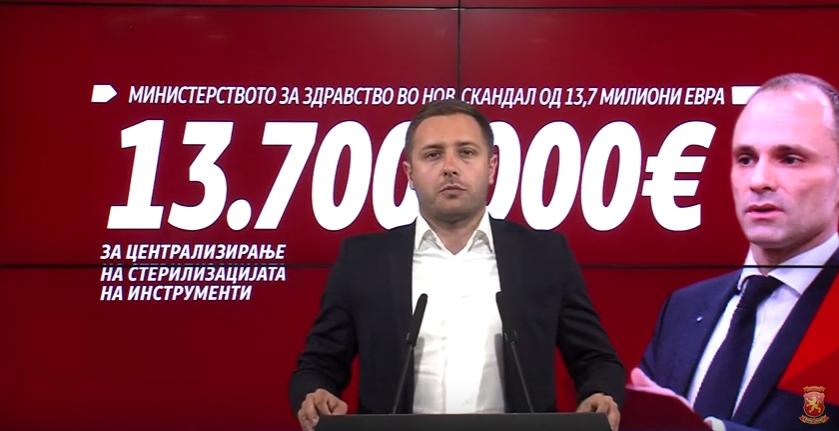 Арсовски: Со тендерот вреден над 13.700.000 евра, Филипче сака да воведе монопол на стерилизацијата во здравството
