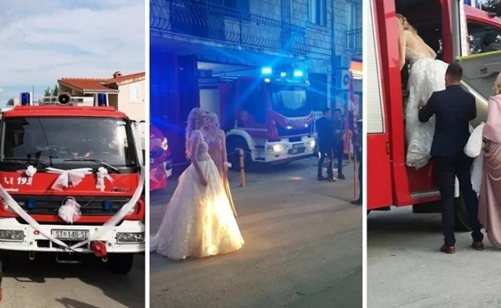 Се слушнаа сирени, а наместо пожарникари дојдоа сватови: Со противпожарно возило дојде по невестата (ВИДЕО)