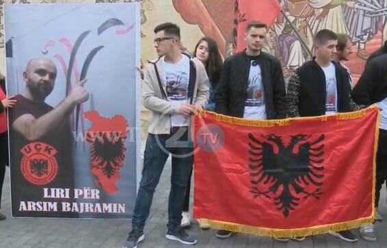 """Картата на """"Голема Албанија"""" на чело на протестот за Диво Насеље (ФОТО)"""