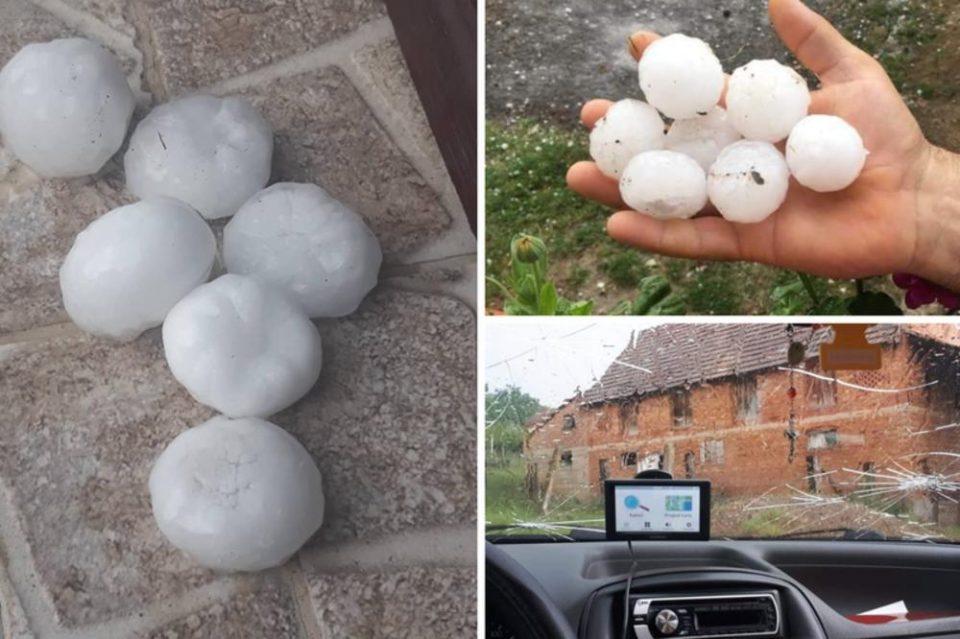 Силно невреме во регионот: Град со големина на голф топче уништи неколку автомобили (ВИДЕО)
