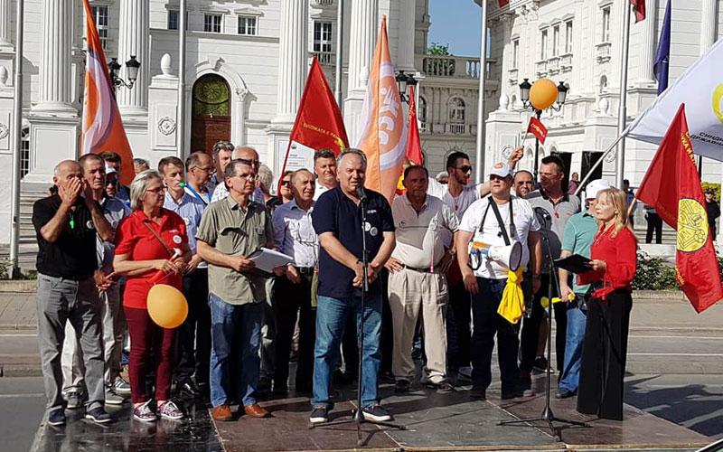 Синдикатите протестираа пред Влада: Побараа покачување на платите и исплата на К-15 во јавниот сектор