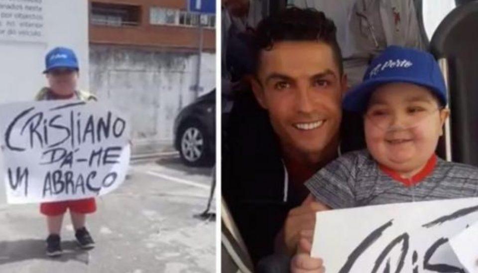 Болно детенце побара прегратка од Роналдо: Фудбалерот повторно покажа колку голем човек е тој (ВИДЕО)
