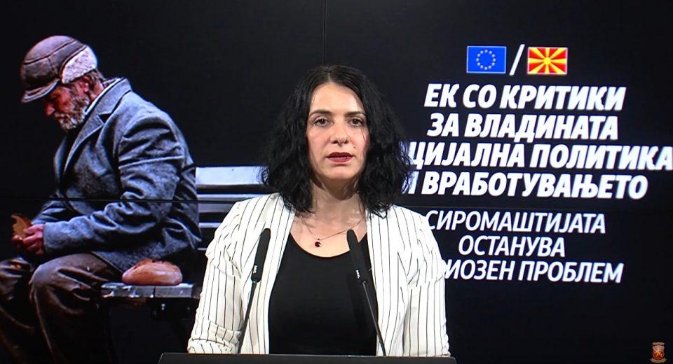 Митовска: Извештајот ЕК е доказ дека власта во изминативе две години нема направено ништо за подобрување на социјалната заштита