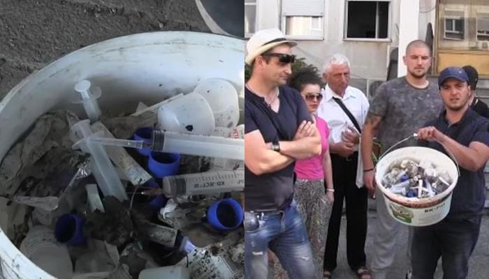 Жителите на Кисела Вода денеска го собираа отпадот што го газат секој ден и го истурија пред влезот на Министерството за здравство