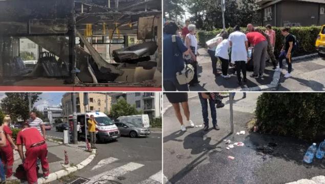 ФОТО: Хаос на Дедиње, експлозија во автобус, има повредени