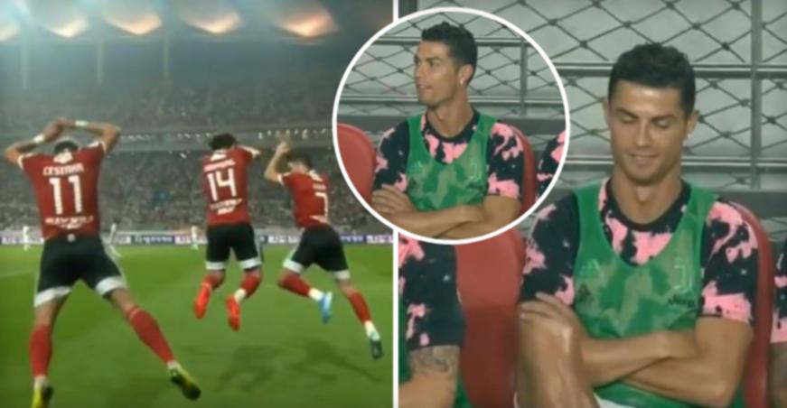 """ВИДЕО: Тројца противници прославија со """"СИУУУУ"""", погледнете ја реакцијата на Роналдо"""