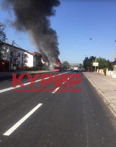 ФОТО+ВИДЕО: Гори автобус на ЈСП во Ѓорче Петров