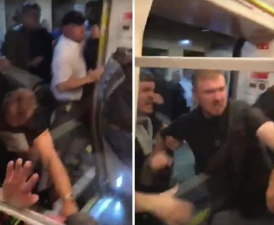 ВИДЕО: Брутална тепачка на хулигани на Сити и Ливерпул во метрото во Лондон