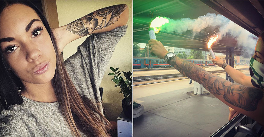ФОТО: Унгарска убавица меѓу хулиганите на Ференцварош кои гостуваа во Загреб