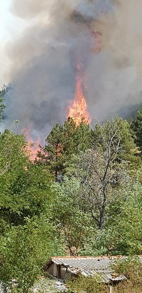 """ФОТО: Огромен пожар избувна до манастирот Св ,,Димитрија"""" во прилепското село Селце- апел секој што може да се упати кон манастирот"""