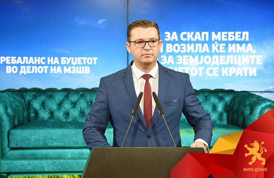 Трупуновски: За скап мебел и возила во МЗШВ ќе се има пари, а за земјоделците буџетот се крати
