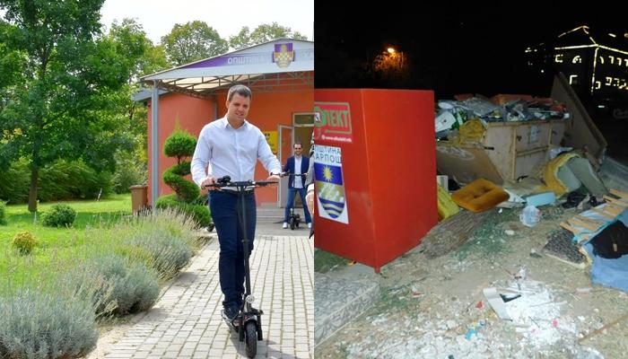 Животот во Карпош дојде само за градоначалникот- додека општината тоне во ѓубре Богоев се поднови со електрични тротинети