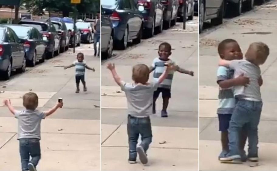 Ова е љубов: Не се виделе два дена, а погледнете како се поздравија овие дечиња (ВИДЕО)