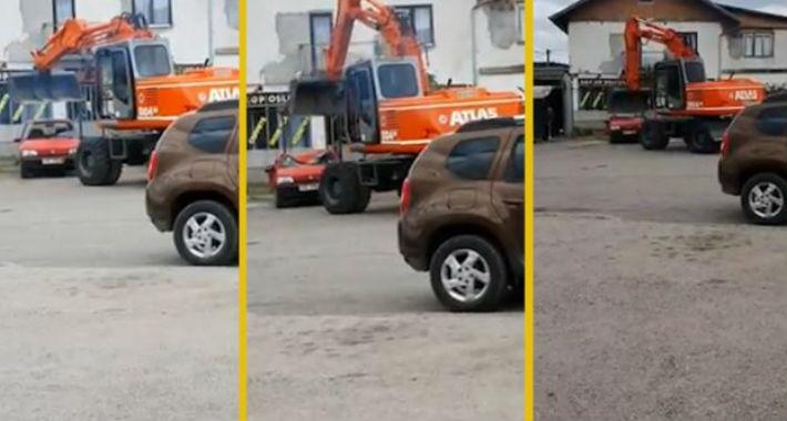Балканска работа: Со багер му го уништи автомобилот на човекот кој му должел пари (ВИДЕО)