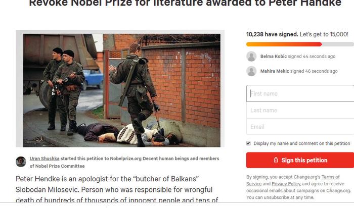 Петиција со барање на Петер Хандке да му се одземе Нобеловата награда за литература
