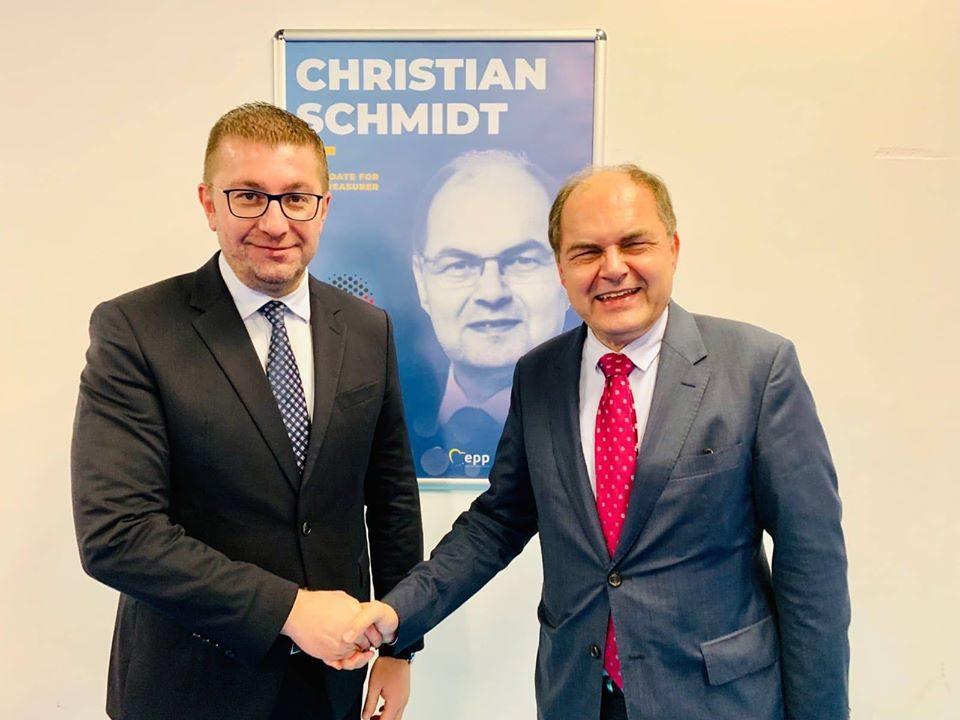 ФОТО: Мицкоски оствари средба со пратеникот во германскиот Бундестаг и потпретседател на ЦСУ Кристијан Шмит