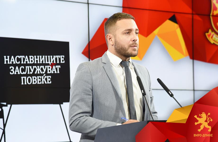 Арсовски: Заев и СДСМ потценувајќи ја интелегенцијата на професорската и наставничкатафела, секој месец им крати по 5.660 денари