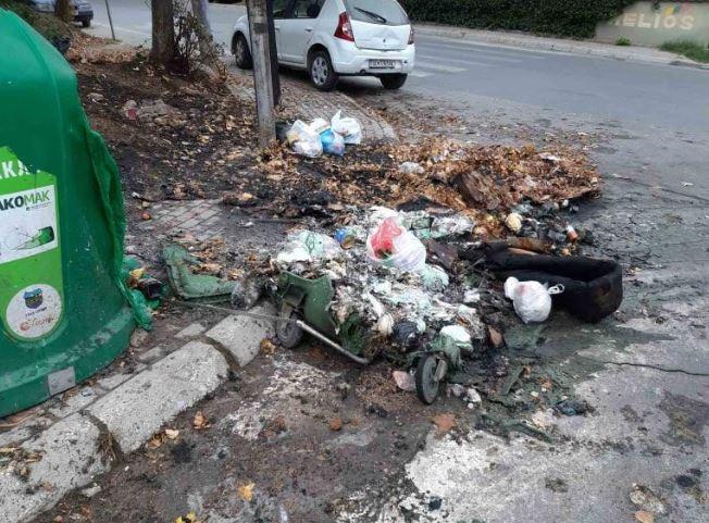 ФОТО: 8 контејнери опожарени во текот на минатата ноќ во Скопје
