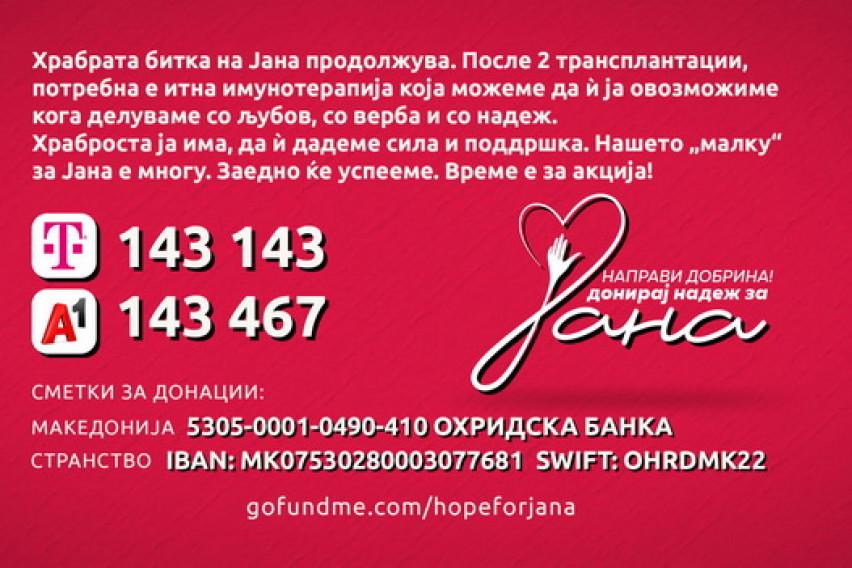 Хуманитарен концерт за лекување на Јана Арсовска во Скопје