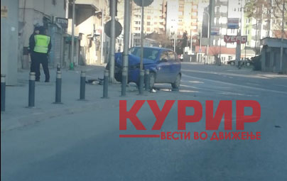 Полицијата на терен: Автомобил забиен во семафор во Кисела Вода (ФОТО)