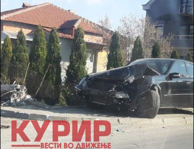 """Автомобилот смачкан: Што остана од """"Мерцедесот"""" во Лисиче?"""