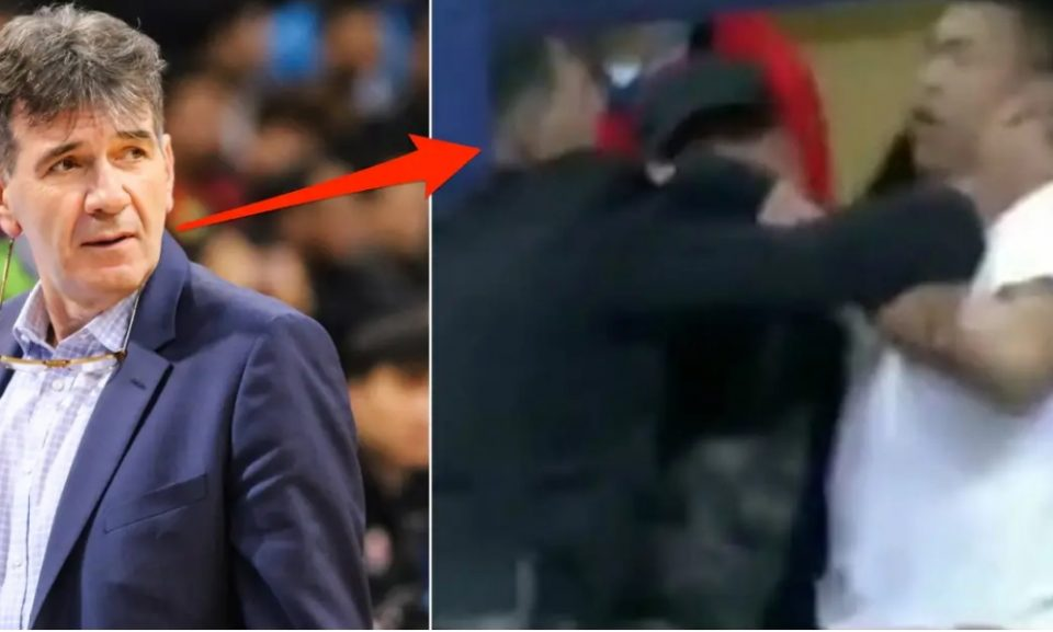 Хаос среде натпревар: Тренер давеше навивач поради насилство кон неговата сопруга! (ВИДЕО)