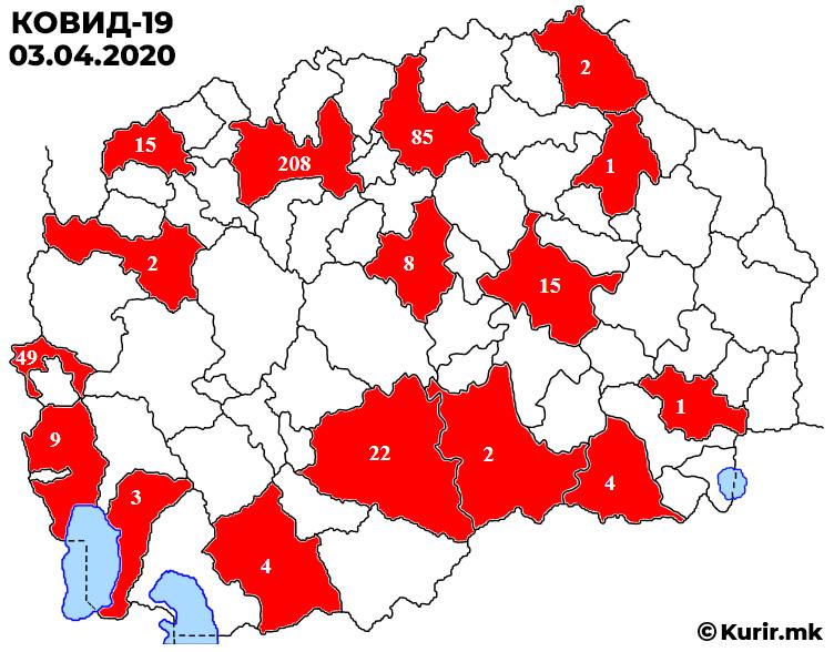 Во Македонија коронавирус имаат 430 лица: 208 се од Скопје, 85 од Куманово…