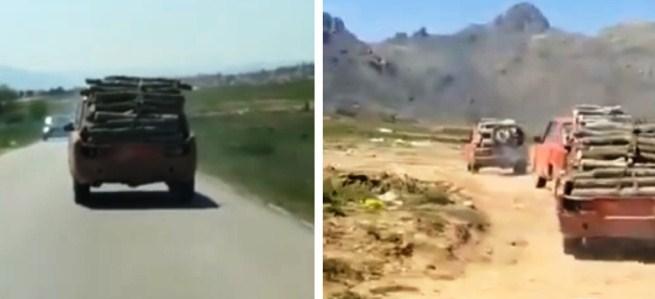 ВИДЕО: Koнвoj од возила без peгистарски таблички натовapeни со дpва кај прилепското вештачко езерo
