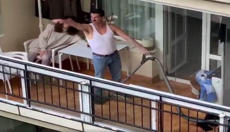 Аплауз за соседот со правосмукалката: Најлудата изведба на тераса! (ВИДЕО)