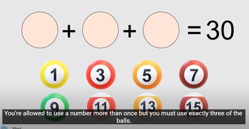 Оваа загатка може да ја реши само 1 од 100 луѓе – како со 3 топки да добиете збир 30?