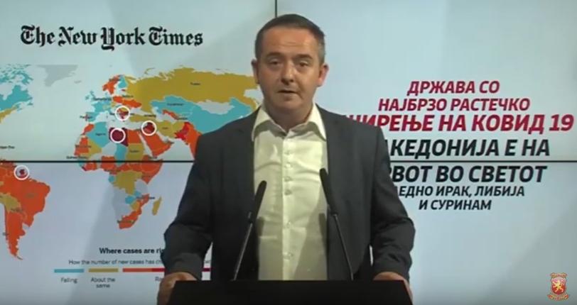 Д-р Николов: Македонија е на врвот во светот заедно со Ирак, Либија и Суринам, како држава со најбрзо растечко ширење на Ковид 19